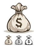 Volledige zak met gelddollars Stock Foto's