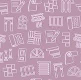 Vollendenmaterialien, Bau, nahtloses Muster, Entwurfszeichnung, Purpur, Farbe, Vektor Stockfotos