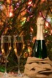 Voller Behälter zwei des Champagners auf dem Tisch Stockbild