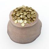 Voller Beutel der goldenen Dollarmünzen Stockfoto