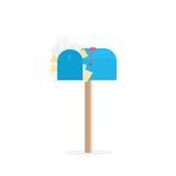 Voller blauer Briefkasten Stockfotos