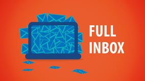 Voller E-Mail-Desktop Inbox Lizenzfreie Stockfotografie