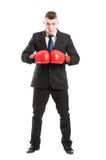 Voller Körper von tragenden Boxhandschuhen eines Geschäftsmannes Stockbild