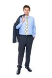 Voller Karosserieneintragfaden des jungen Geschäftsmannes, getrennt Lizenzfreie Stockfotos