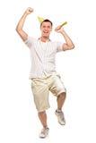 In voller Länge Portrait eines Partypersonenfeierns Stockbild