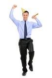 In voller Länge Portrait eines Partypersonenfeierns Lizenzfreie Stockfotos