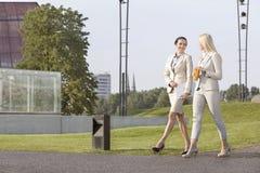 In voller Länge von den jungen Geschäftsfrauen, die einander beim Gehen auf Straße betrachten lizenzfreie stockfotos