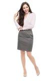 In voller Länge von der jungen Geschäftsfraustellung Lizenzfreie Stockfotos