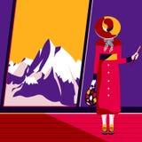 In voller Länge von einer Frau, die nahe einem Fenster mit einer schönen Ansicht der Berge steht Stockfotografie