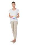 In voller Länge von einer jungen Frau mit Farbenproben Stockfotos