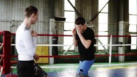 In voller Länge von zwei jungen Boxern auf dem Ring in der zufälligen Kleidung Durchschläge mit einander ohne Handschuhe ausarbei stock video