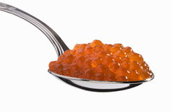 Voller Löffel des roten Kaviars Stockfotografie