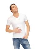 Voller Mann im weißen Hemd stockbild
