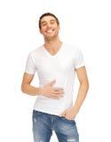 Voller Mann im weißen Hemd Stockbilder