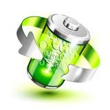 Voller Pegelstab der grünen Batterie Stockfoto