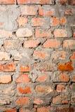 Voller Rahmen der rauen Backsteinmauer Wand-Nahaufnahmehintergrund des roten Backsteins Detail der Backsteinmauern vom alten Lizenzfreies Stockbild