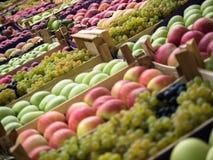 Voller Rahmenhintergrund von verschiedenen Früchten an einem Marktstall Fokus in der Mitte Lizenzfreie Stockfotos