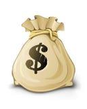 Voller Sack mit den Dollar getrennt Stockfotografie