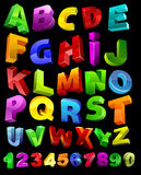 Volles Alphabet mit Ziffern Stockfotografie