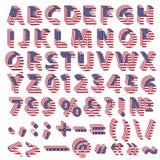Volles Alphabet von den USA-Flaggenbuchstaben Lizenzfreie Stockbilder