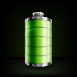 Volles Batteriesymbol auf schwarzem Hintergrund Lizenzfreies Stockfoto