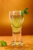 Volles Glas frisches kühles Stärkungsmittel mit Kalk trägt Früchte Stockfotografie