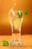 Volles Glas frisches kühles Stärkungsmittel mit Kalk trägt Früchte Stockbilder