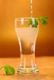 Volles Glas frisches kühles Stärkungsmittel mit Kalk trägt Früchte Stockfotos