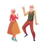 Volles Höhenporträt von den alten, älteren Paaren, die zusammen tanzen Stockfoto