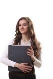 Volles Körperporträt der glücklichen lächelnden Geschäftsfrau mit schwarzen FO Lizenzfreie Stockfotografie