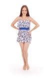 Volles Körperporträt der jungen Frau im Kleid Lizenzfreies Stockfoto