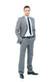 Volles Körperporträt des glücklichen lächelnden Geschäftsmannes Lizenzfreies Stockfoto