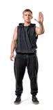 Volles Körperporträt des hübschen Vertretungsendhandzeichens des jungen Mannes mit Muskeln lokalisiert auf weißem Hintergrund stockfoto