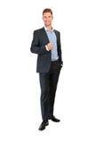 Volles Körperporträt des glücklichen lächelnden Geschäftsmannes Stockfoto