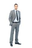 Volles Körperporträt des glücklichen lächelnden Geschäftsmannes, lokalisiert auf weißem Hintergrund Lizenzfreie Stockfotografie