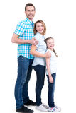 Volles Porträt der glücklichen europäischen Familie mit Kind lizenzfreies stockfoto