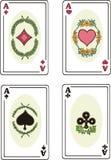 Volles Set Asse der Spielkarten Stockfoto