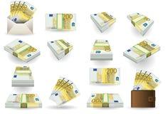 Volles Set von zweihundert Eurobanknoten Stockfotografie