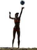Volley παραλιών γυναικών σκιαγραφία φορέων σφαιρών Στοκ Εικόνες