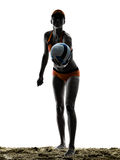 Volley παραλιών γυναικών σκιαγραφία φορέων σφαιρών Στοκ εικόνα με δικαίωμα ελεύθερης χρήσης