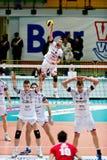 Volley. MILAN, ITALY - FEBRUARY, 3: Massari (Gherardi SVI) jamping ball in A2M Vero Volley Monza - Gherardi SVI on february , 2013 in Milan, Italy royalty free stock photo