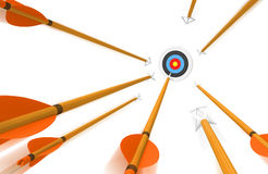 Volley of arrows hurling toward an archery target in fast blurred motion, 3D rendering Royalty Free Stock Photo