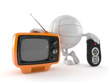 Volley ball character with tv set and remote royalty free stock images