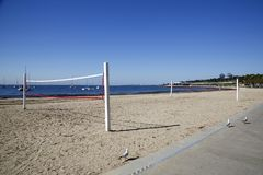 Volley ball court on the beach at Geelong. People play volley ball after work or college in the evenings and weekends Royalty Free Stock Photos