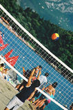 Volley ball kid. Kid playing volley ball stock photo