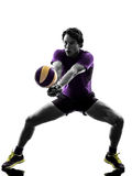 Volley ball player man silhouette white background Royalty Free Stock Photography