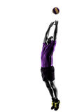 Volley ball player man silhouette white background Stock Image