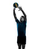 Volley ball player man silhouette white background Stock Photography