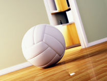 Volley ball on wood floor Stock Photos