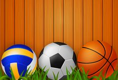 Volley la palla, il pallone da calcio e la pallacanestro con fondo illustrazione di stock